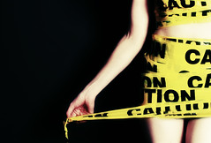 #334/366 - Caution (CrzysChick) Tags: portrait selfportrait me oneaday yellow self myself arm wrapped wrap tape sp crop caution cropped 365 cautiontape day334 366 334 project365 365days 365project threesixtyfive