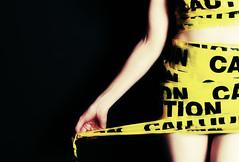 #334/366 - Caution (CrzysChick) Tags: portrait selfportrait me oneaday yellow self myself arm wrapped wrap tape sp crop caution cropped 365 cautiontape day334 366 334 project365 365days 365project threesixtyfive