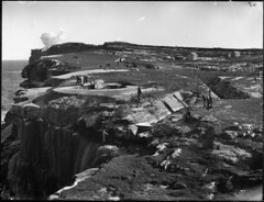 Cliff top gun emplacement at South Head (Powerhouse Museum Collection) Tags: cliff white black golf coast scenery smoke sydney australia battle cliffs huts pacificocean nsw newsouthwales artillery guns powerhousemuseum trenches gunemplacement southhead blackandwhitw clifftops xmlns:dc=httppurlorgdcelements11 signalbattery artilleryemplacement coastalguns dc:identifier=httpwwwpowerhousemuseumcomcollectiondatabaseirn385689 hornbybattery