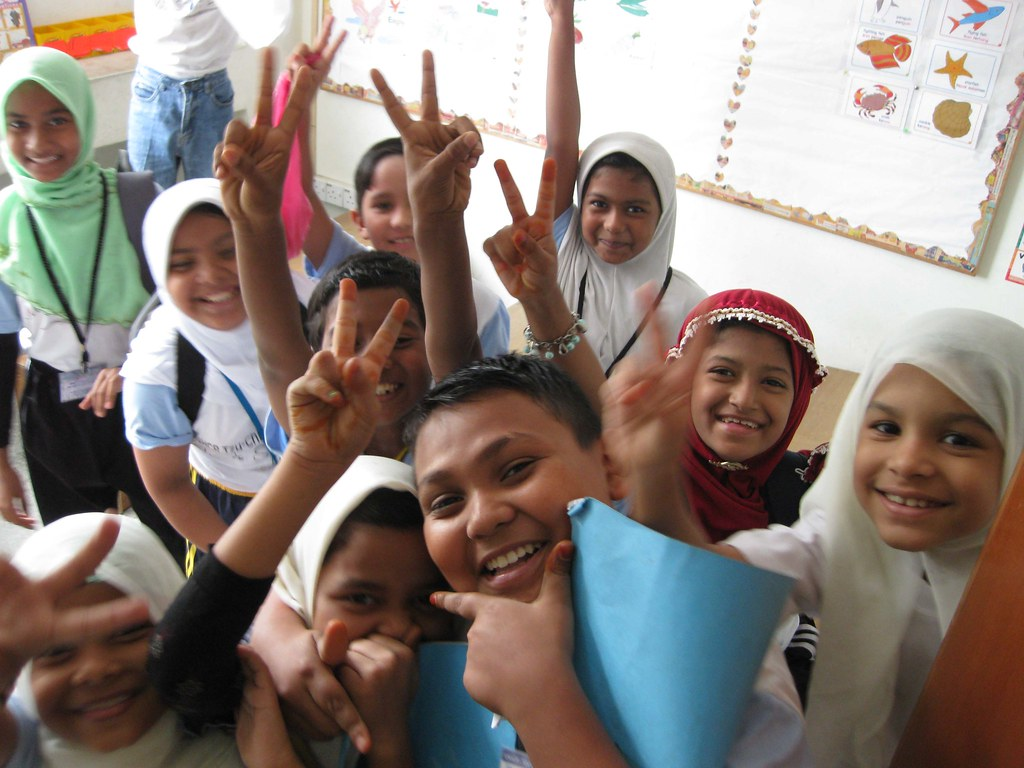Refugee kids in a UNHCR school