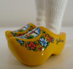 Yellow flower clogs with windmill