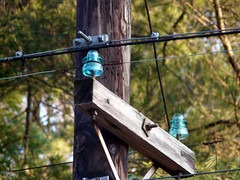 glass insulators on the pole (MasterGeorge) Tags: glass power telephone line pole collecting insulators