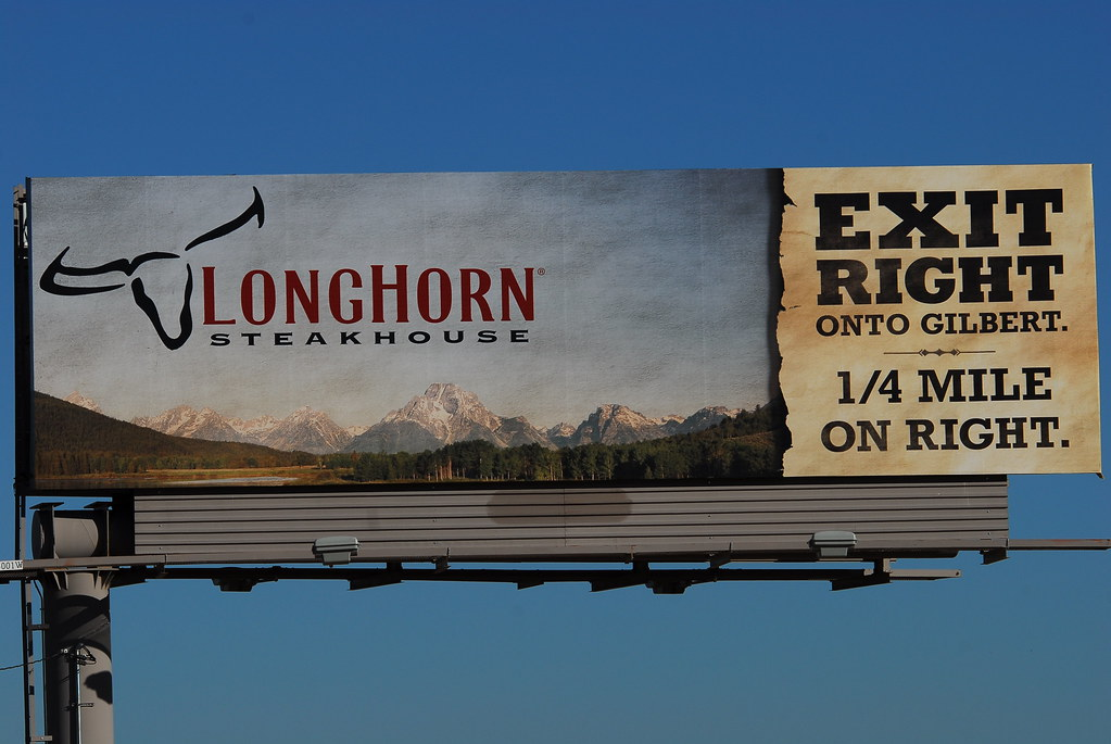 Longhorn Steakhouse billboard on the Santan Freeway Loop 202, Chandler, AZ