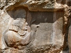 Kartir (dynamosquito) Tags: sculpture persian ancient iran god persia relief priest iranian inscription basrelief ancien clergy perse highpriest pahlavi fars prtre sasanian marvdasht vizier rockrelief clerg karter iranien ahuramazda naqsherajab zoroastrism panasoniclumixdmcfz50 ardashir zoroastrisme dynamosquito grandprtre kartir katibeh ardeshiri sasanianempire sasanianera moebed pehlevi