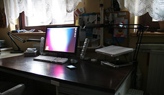 Desk after Xmas (.vpeter) Tags: desktop apple macintosh 22 desk elevator griffin iphone dvi harmankardon soundstick macbook