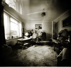 The ghosts in my grandmother's house (sixbysixtasy) Tags: light portrait bw house 6x6 film home window square living chair fuji grandmother room lofi hc110 pinhole medium format neopan ghosts zero2000 acros autaut artlibres