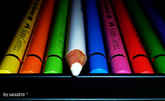 Be White [Faber Castell] (harp92) Tags: new blue red orange white black color colour green colors yellow pencils colorful sara colours vibrant magenta 2010 ksa colourfull vibrantcolours almalki vanagram new2010 harp92 saraalmalki