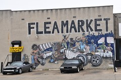 Flea Market (read the small yellow sign) (Throwingbull) Tags: city urban get art sign wall this md mural funny humorous do market humor maryland gritty baltimore area flea caught urinating