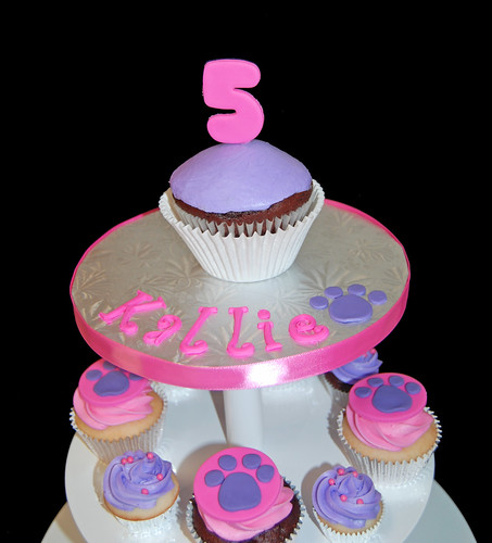 Pink and Purple Paw Print cupcake tower for a 5th birthday jumbo topper cupcake