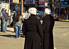 standing around (Robert S. Photography) Tags: street nyc people colour brooklyn corner conversation stores sighns canonpowershot kingshighway 2014 hasids a3400