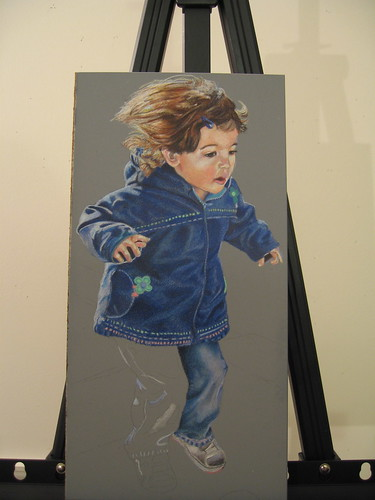 In progress photo of colored pencil drawing entitled Jump!