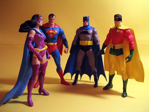 Earth Two Huntress, Superman, Batman and Robin