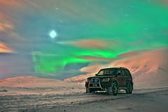 land cruiser (giggo75) Tags: sky moon mountain snow clouds stars landscape lights iceland nightshot 4x4 aurora toyota polar landcruiser lunar soe hdr sland northen auroraborealis borealis polare northenlights northsouth 3xp norurljs    polarsken