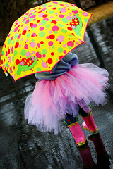Rain, rain...don't go away...{100/366} (cpscraps) Tags: pink rain umbrella fun boots littlegirl tutu