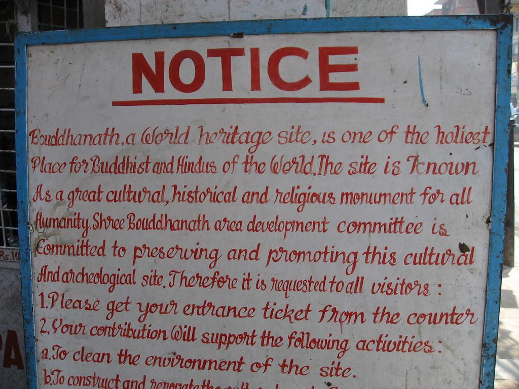 Sign at entrance to Boudhanath Stupa