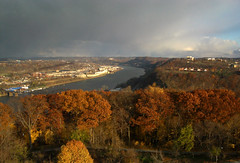 Fall Storm over the Allegheny River (Daniel Weeks) Tags: autumn sunset fallleaves storm fall clouds river mood fromabove kap highlandpark kiteaerialphotography alleghenyriver dramaticlight copyrightallrightsreserved celebrateseasons copyrightbydanieleweeks danieleweekscom httpdanieleweekscomphotography
