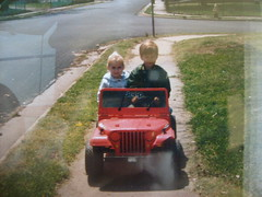 Powell and Idiot Cousin in a Jeep
