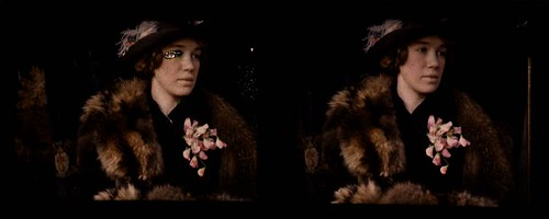 Woman wearing fur stole and corsage