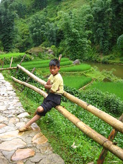 Boy by the river (tabithatravels) Tags: boy green nature river bamboo vietnam sapa