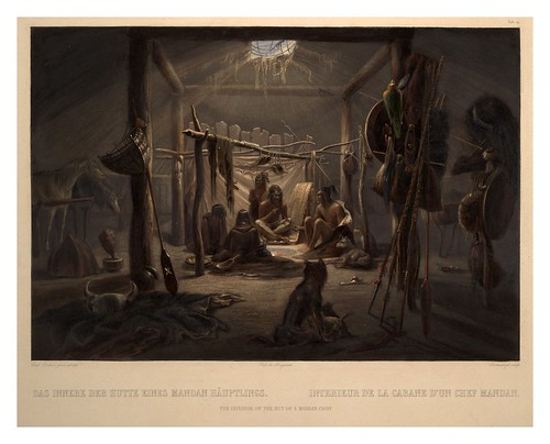 0052r- Interior de la cabaña de un jefe Mandan