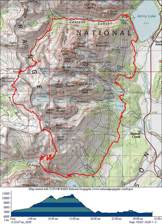 Teton Circumnavigation Route