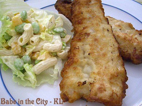 Pacific Tempura Fish Fillets served with pasta salad