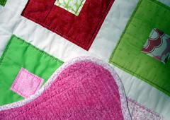 pink green quilt detail, back, and binding