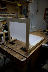 Shooting Table - Back View (Peter Steeper) Tags: macro pine backlight studio diy translucent product homedepot lighttent rona lightcube shadowless strobist shootingtable
