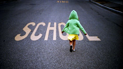 back to school (zinkwazi) Tags: school green film kids analog 35mm sweater lomo lca lomography fuji crossing run hood preschool kindergarten backtoschool xing iso1600 schoolxing fuljifilm