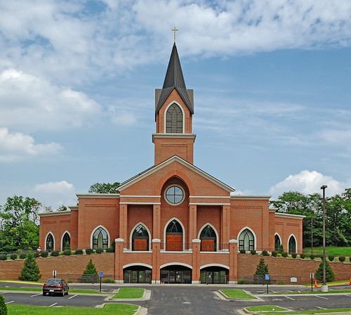 Our Lady of Lourdes Roman Catholic Church, in Washington, Missouri, USA - exterior front