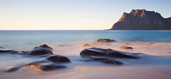 "Lofoten 02 - ""Uttakleiv"" (Anders Hagen-Nsset) Tags: longexposure sunset seascape mountains beach norway landscape photography lightandshadows rocks fineart scandinavia lofoten lastlight waterscape northerneurope canon1740l canoneos5d uttakleiv"