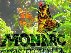 Meeting of the Monarchs (Kurlylox1) Tags: flowers summer orange sign collage construction colorful bokeh doubleexposure butterflies sensational monarchs artimitatinglife mywinners lifemeetsart qualitypixels willtherealmonarchpleasestandup