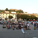 Audience for first student concert in market square, Certaldo Basso