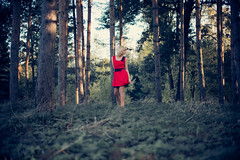 Lost in the forest? (Geshpanets) Tags: autumn love girl beauty forest outside 50mm girlfriend dress outdoor 5d reddress lightroom blondy 5014 canonef50mmf14usm russiangirl