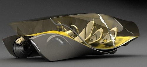 Second futuristic car photo, yellow and clear