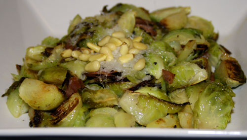 Roasted Brussels Sprouts with Salami