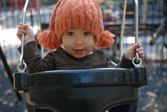 (UrbanDorothy) Tags: family autumn fall hat playground october toddler elise daughter prospectpark swing ellie swinging elisecolette