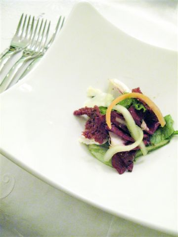mesclun with asiago and crispy beef