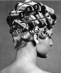 034 - Blonde Gran Prix Set Back Right (Sydney Michelle) Tags: set hair bob hairdo curls fringe pearls petal blond blonde 1960s bang hairstyle sixties coif rolled coiffure nape curlers pincurls mrray hifashion
