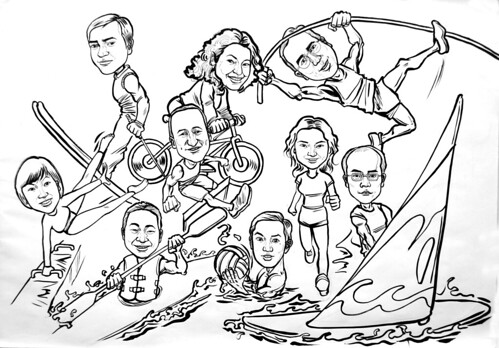 Group caricatures sketch for Microsoft APAC ink sketch