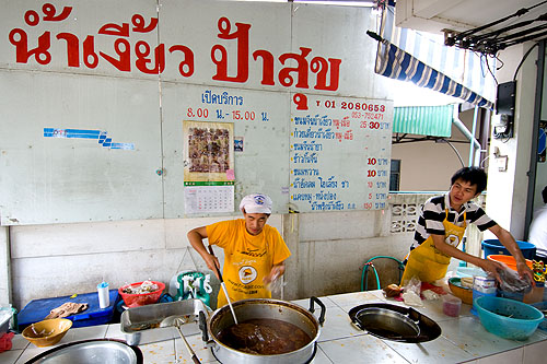Paa Suk, a popular restaurant serving nam ngiaw, a northern-style noodle dish, in Chiang Rai, Thailand