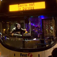 ghost bus (pho-Tony) Tags: bus halloween night pumpkin skeleton volvo please sheffield first horror fright grimreaper notinservice fares frightnight