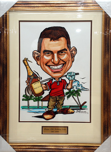golfer caricature with chanpagne at Bali framed with inscription