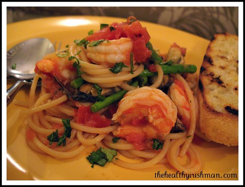 Tomato Basil Shrimp with Spaghetti