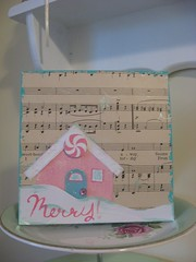 """Merry"" Card for Holiday Jenny (chelstastic) Tags: christmas house snow glitter painting handmade note card letter merry greeting acrylicpaint christmascard papercraft shabbychic paperpiecing christmascottage vintagesheetmusic pinkandaqua holidayjenny glittercottage"