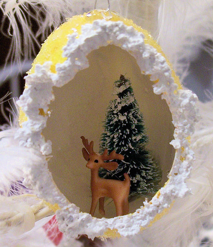 Yellow Egg Ornament with Deer