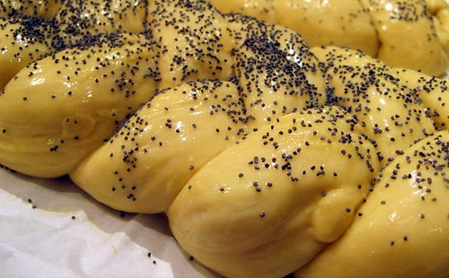 challah dough with egg wash & poppyseeds