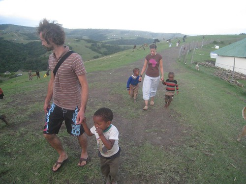 Magali and Sebastien with kids in tow