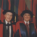 Dr John Burgess with unidentified academic at the Faculty of Engineering graduation ceremony, the University of Newcastle, Australia - 16 May 1997, 10.30am