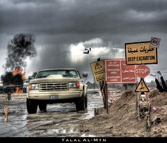 Danger is not more than a trick with Ford. (Talal Al-Mtn) Tags: camera 6 ford danger truck canon fire is with x more stop than trick kuwait talal q8 deepexcavation wanet almtn talalalmtn dangerisnotmorethanatrickwithford